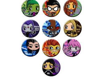 Teen Titans Chibi Button Set - Robin, Starfire, Raven, Beast Boy, Cyborg, Aqualad, Kid Flash, Jinx, Terra, Blackfire