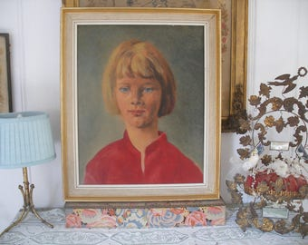 Mid century portrait painting, blonde girl in red dress