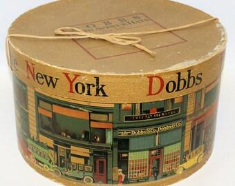 Rare Vintage New York DOBBS FIFTH AVENUE Hat Box, Extraordinary Bright Imagery!