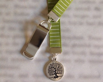 Tree of Life bookmark with clip - Attach to book cover then mark the page with the ribbon. Never lose your bookmark!