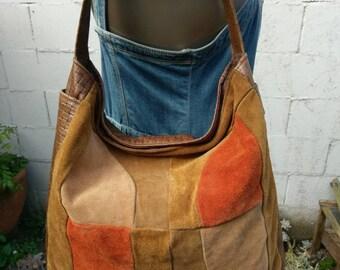 80s Patchwork Leather Bag Basketweave Slouch Purse Tote Handbag Hobo Satchel 1980s Vintage Woven Leather