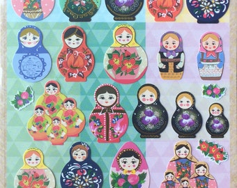 Matryoshka Russian Dolls Sticker, colorful stickers, craft supply, scrapbook supply,diary stickers