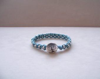 Sky Blue and Silver Tree Beaded Macrame Bracelet, Hemp Bracelet, Macrame Jewelry, Tree of Life Bracelet, Tree of Life Jewelry, Hemp Jewelry