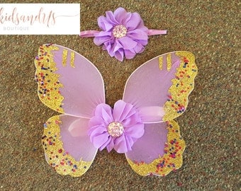 Newborn Baby Girl Flower Headband and Butterfly Wings Photography Photo Props- Newborn Baby Fairy Wings