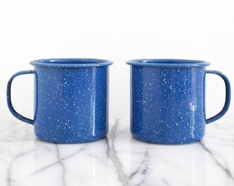 Pair of Vintage Enamel Mugs - Two (2) Blue Speckled Camp Mugs
