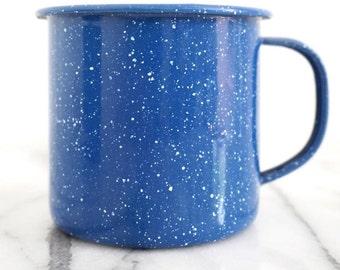 Vintage Enamel Mug - Blue Speckled Camp Mug