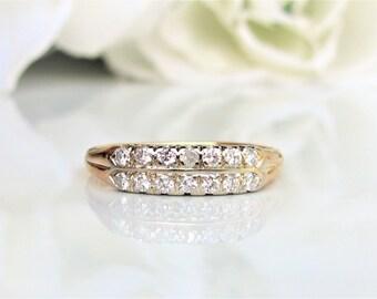Vintage Two Row Diamond Wedding Band 0.51ctw Diamond Anniversary Ring 14K Two Tone Gold Diamond Stacking Wedding Ring Size 8