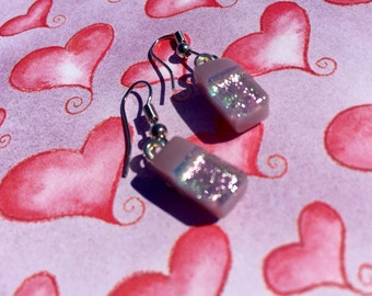 Fused Glass Earrings in Soft Shimmery Pink