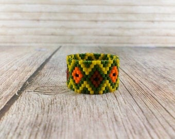 Wide band ring Everyday ring Kale beaded ring Simple ring Statement ring Yellow green ring Unique ring Geometric ring Modern ring Seed bead