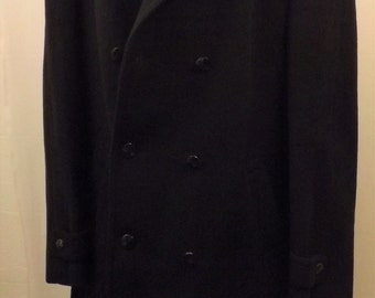 80'S C & A Wool Top Coat or Overcoat Dark Blue Size 48