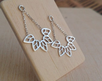 "Silver Handmade Mandala Chain ""Panqa"" Earrings"