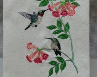 Summer Hummingbirds, Hummingbirds and Flowers Embroidered Kitchen/Tea Towel