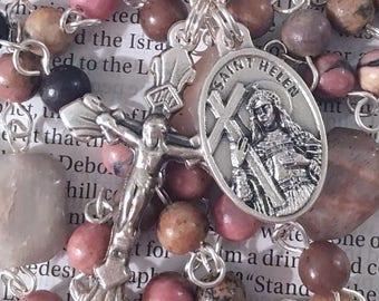 Saint Helen Rosary Catholic Rosaries Mary Rosary St Helen Rosary Confirmation Gift Saint Rosary Catholic Gift Brown Pink