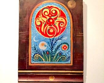 Hand-painted celtic mystery icon, solstice fire, art nouveau original design