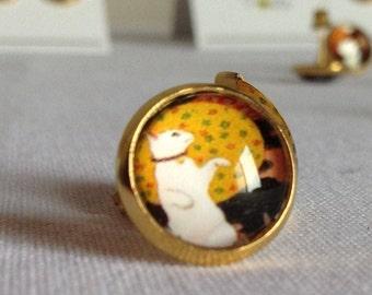 Cat Professor Stud Earrings on Deep Yellow