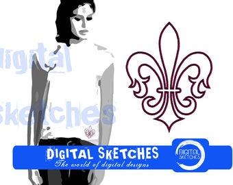Fleur de lis Applique Machine Embroidery Design 4 Sizes