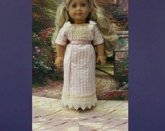 "Historical 18 inch doll clothes ""Tea Time in Pink"" will fit American Girl 1900's tea gown turn of the century Edwardian Downton Abbey K2"