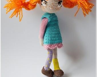 Pippi longstocking Handmade Pippi doll ,Collectible doll, Corchet Doll, plush soft doll, Astrid Lindgren's character, amigurumi art doll