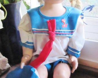 "1950 19"" IMPCO WALKer doll saucy walker Friend needs TLC  red white sailor clothes"