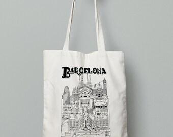 Barcelona screen printed Tote-Bag / 100% cotton