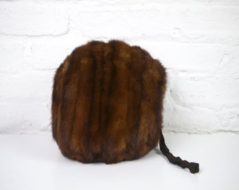 Brown Mink Muff Large