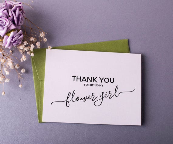 Thank You Flower Girl Card Flower Girl Gift Wedding Card Thank You for being My Flower Girl Gift Card BULK Pack