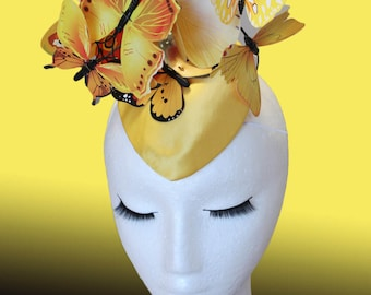Yellow Butterfly Hat Yellow Fascinator Butterfly Fascinator Wedding Hat Ascot Hat Derby Hat Butterflies Yellow Orange Melbourne Cup Hat