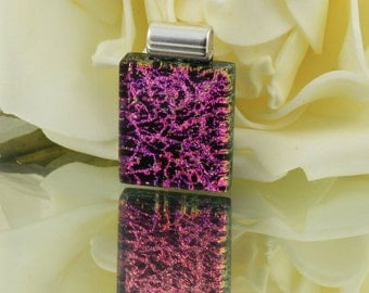 Fused Glass Pendant - Dichroic Glass Jewellery - Necklace - Cerise Pink and Black - Fused Glass Jewelry.  JBT369