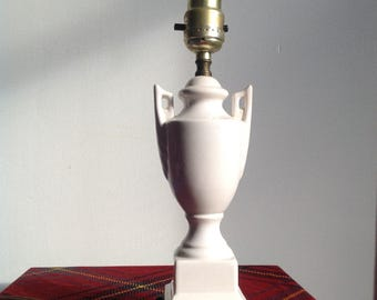 Vintage Lamp Porcelain & Brass Urn Table Lamp with Laurel Leaf Design