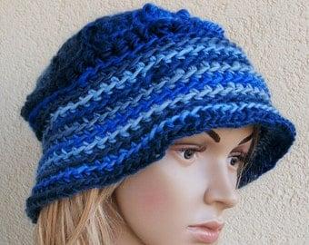 Fantastic Freeform Crochet loose Hat , Deep Cap, Asymmetric , Fantasy Hat,Freeform Crochet Hat