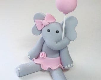 Elephant Fondant Cake Topper 1st Birthday Baby Shower Optional Lt. Pink Bow and Balloon Lt. Blue Bow Tie Girl Boy