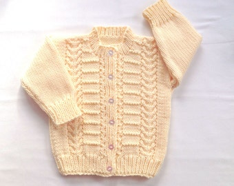 Toddler cardigan - 12 to 24 months - Toddler knit sweater - Knitted baby clothes - Childs yellow sweater - Toddler knitwear
