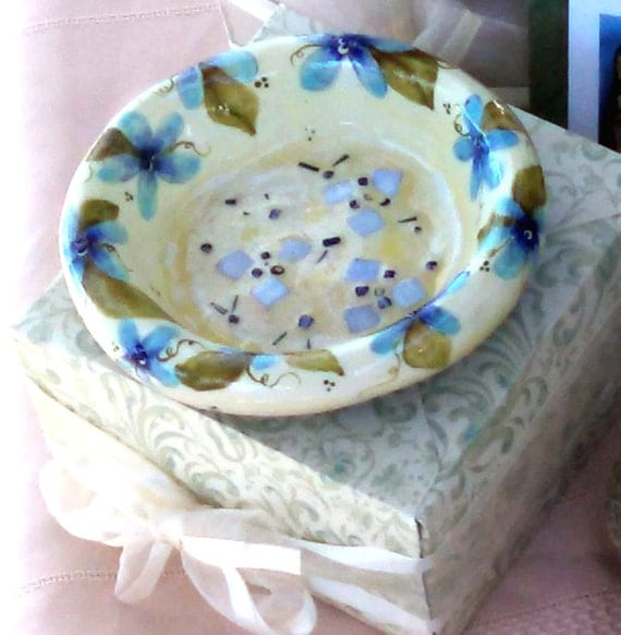 Blue flowers ring dish jewelry tray cottage chic home decor mosaic bowls vanity tray hand made hand painted original work spring flowers