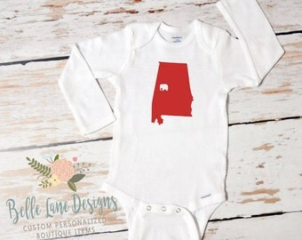 "Alabama ""Bama Baby"" Onesie State & Elephant in Your Color Choice 