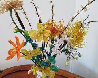 Beautiful Vintage Hand Beaded Floral Arrangement