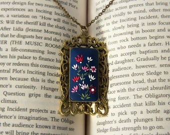 Navy Blue Necklace, Embroidered polymer clay necklace, victorian, Cobalt Blue, blue and pink necklace, dark blue, royal blue flower necklace
