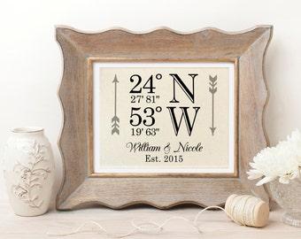 Cotton Anniversary Gift | Latitude Longitude Wedding Gift | Wedding Coordinates | Wedding Gift | Personalized Wedding Gifts | Bridal Shower