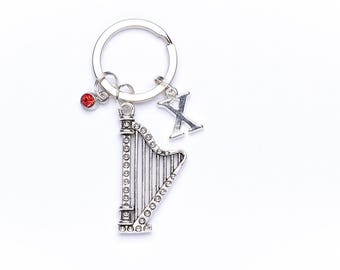 Personalised Harp Keyring | Musical Key Chain | Harp Gift Idea | Harp Accessory | Personalised Gift