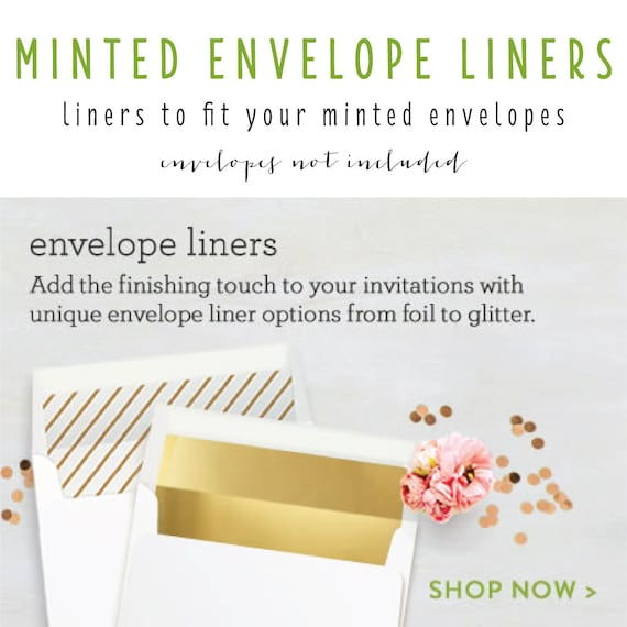 minted envelope liners (envelopes not included) - set of 10