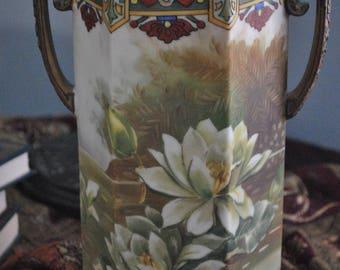 Antique Nippon - Vintage - Nippon - Porcelain Handpainted Lillies - Large Vase - Moriage Handles