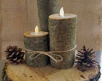 Log Tea Light Candle Holders