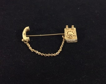 SALE! Vintage Avon Gold Telephone Stick Pin with Dangling Chain