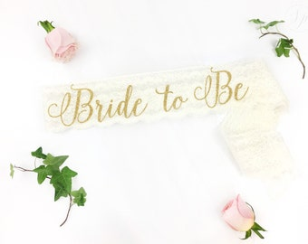 Bride-To-Be Sash - Bachelorette Sash - Bridal Shower Bachelorette Party Accessory - Satin Bride Sash - Bride Gift - Bride Sash - Lace Sash