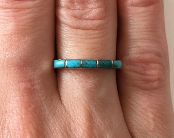 Zuni Channel Inlay Turquoise Band Ring Stacking