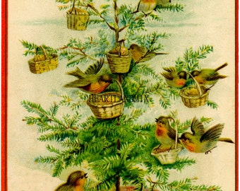 Vintage Christmas Image Birds and Baskets Tree Wall Art Cards Tags Instant Download Printable 300 DPI