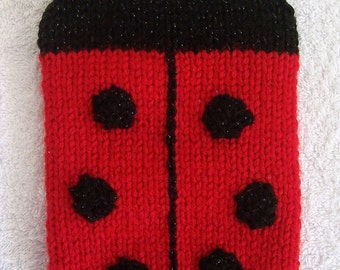 Hand Knitted Red Ladybird Kindle Cosy / Ladybug Kindle Cover / Kindle Case