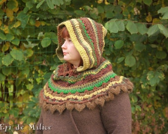 Medieval Spirit hood, Cape, elfin Capelet, from the forest, earthy, fairy clothing, elf cosplay, fantasy wear, freeform crochet, hoodie