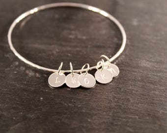 Sterling Silver Hammered Initial Bangle -  ( Personalized Hand Stamped Bracelet Bridesmaid Wedding Gift for her Under 50)