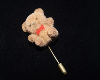 Vintage Teddy Bear Stick Pin Brown Fuzzy Teddy Bear with Red Bow Stick Pin