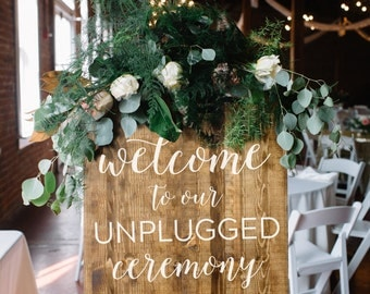 Unplugged Wedding Sign - Unplugged Ceremony Sign - Rustic Wood Wedding Sign - Elizabeth Collection